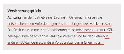 Drohnen Versicherung Austro Control 750000 SZR