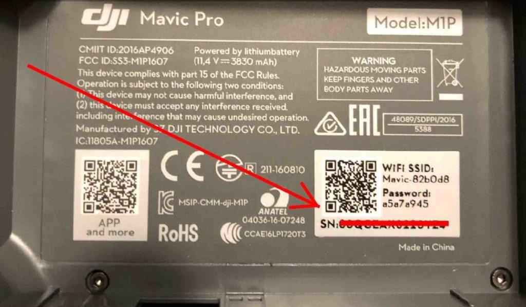 Drohnen Seriennummer DJI Mavic Pro Akkufach
