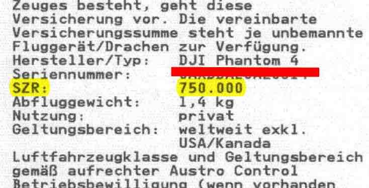 Drohnenbewilligung Verlängerung Austro Control 750.000 SZR uLFZ