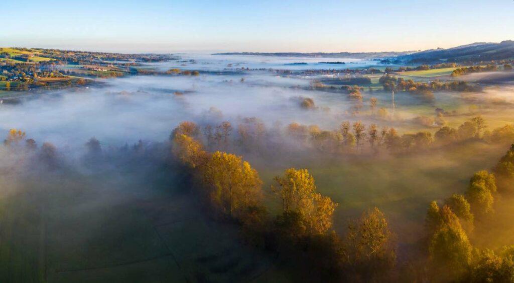 Agrar Drohnenfotos Krems Fluss Luftbild Herbst
