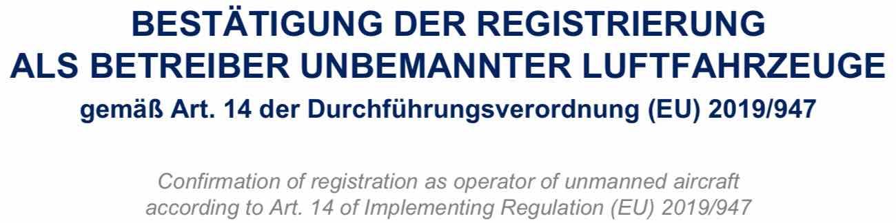bestaetigung drohnen registrierung austro control