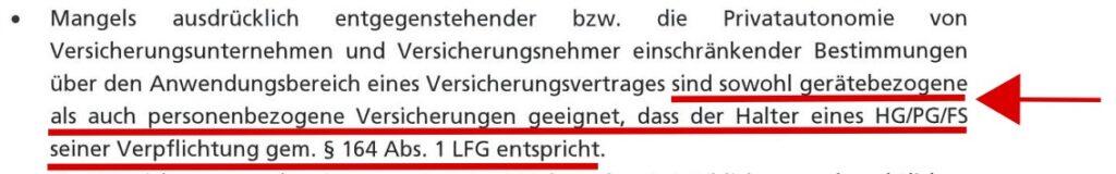 Gutachten Haftpflichtversicherung Paragleiter, Drachenflieger, Fallschirmspringer Österreich