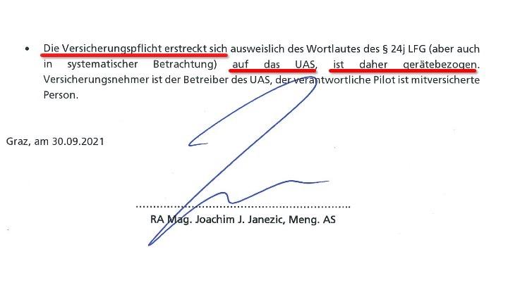 RA Janezic: Gutachten zur  Voraussetzung für Drohnen Pflicht Versicherung in Österreich